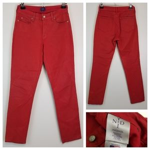 NYDJ 6 Red Waxed Skinny Jeans Stretchy High Rise